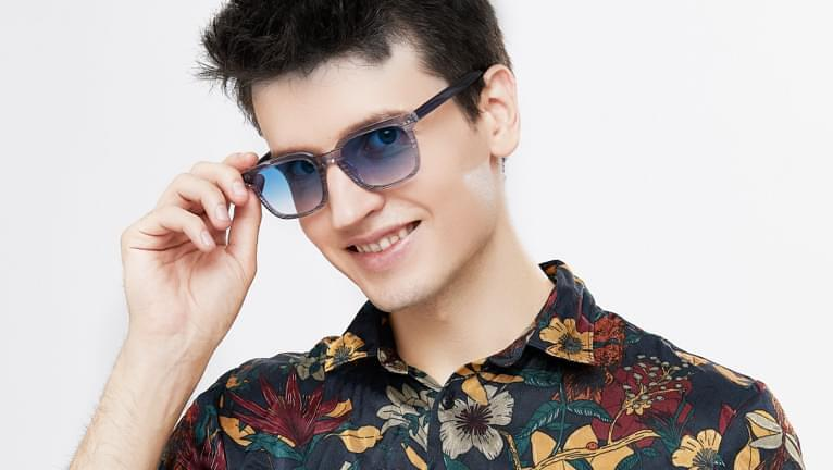 Blue tinted sunglasses are also stylish when paired with black hair.