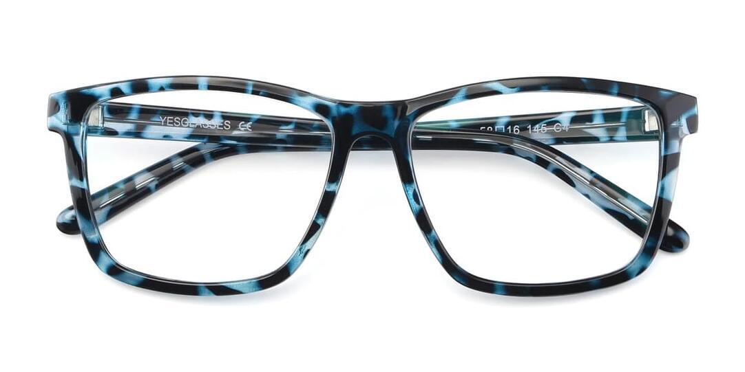 Blue Tortoise Oversized Grandpa Square Eyeglasses