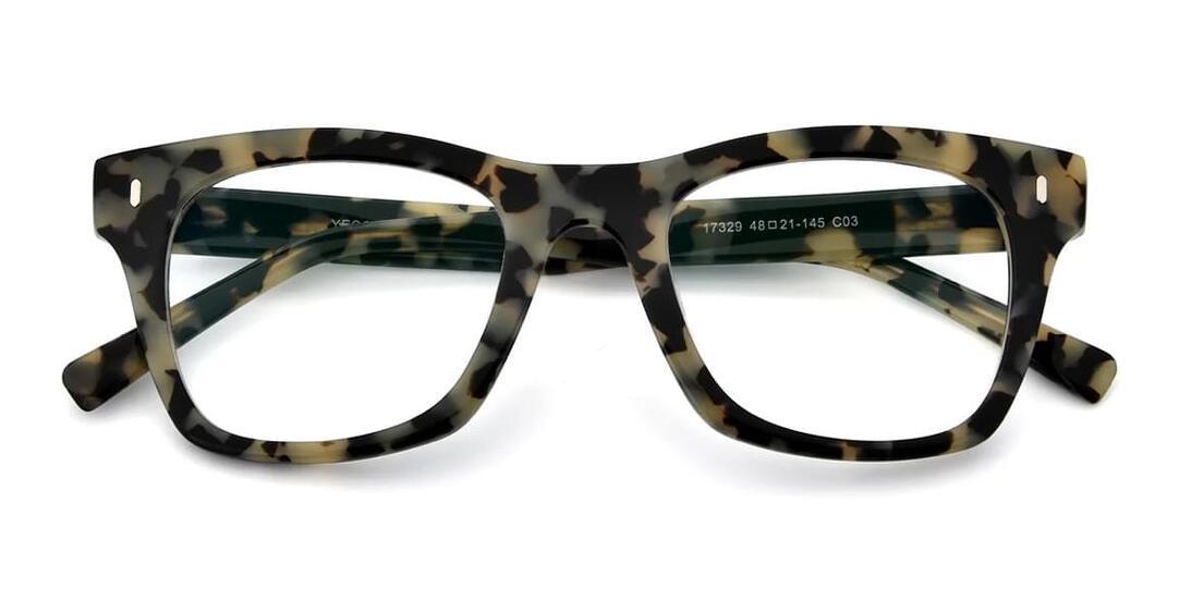 Tortoise Geek-Chic Horn-Rimmed Square Eyeglasses