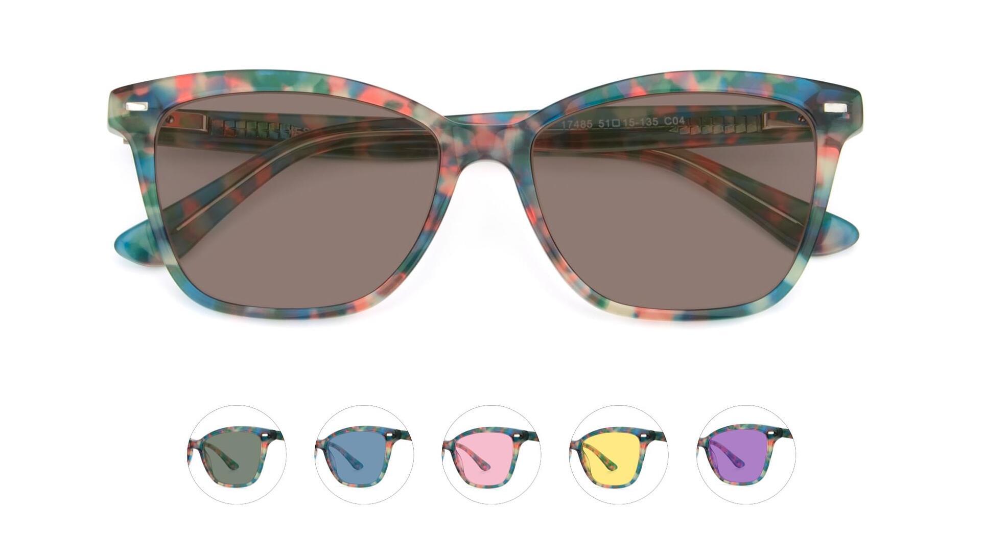 Floral Tortoise Retro-Vintage Acetate Cat-Eye Tinted Sunglasses