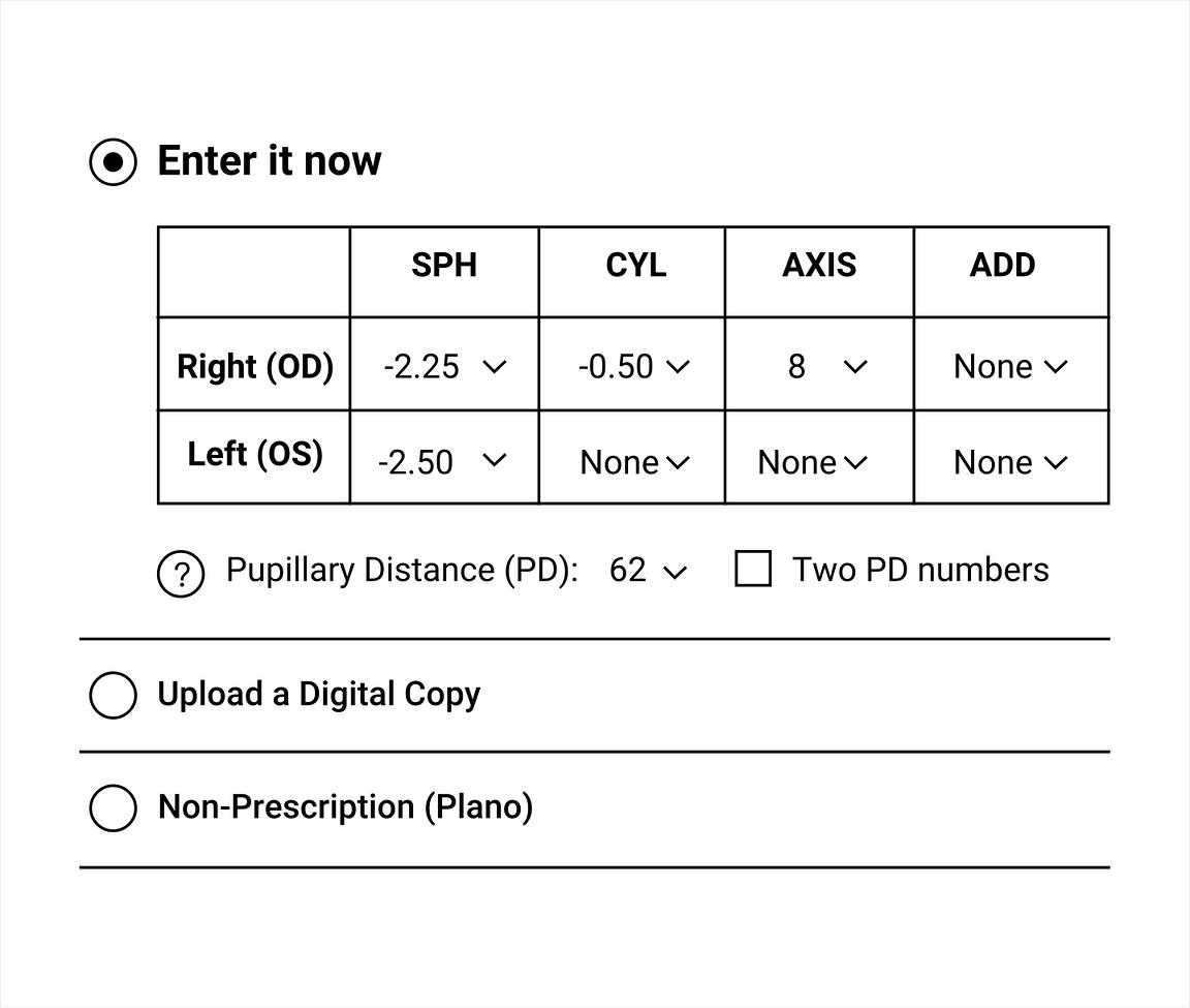 Ordering prescription glasses online allows you to easily enter prescription details.
