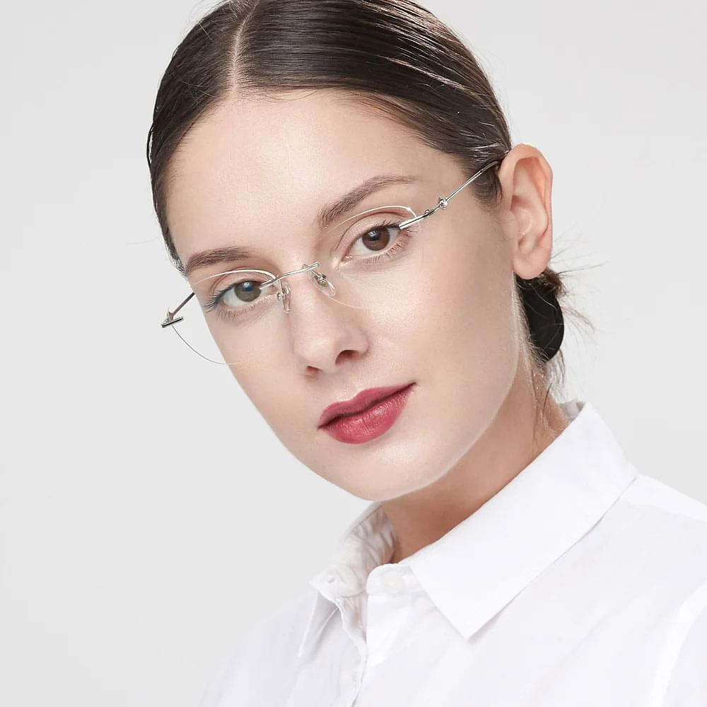 Cat eye rimless glasses for women with unique style.
