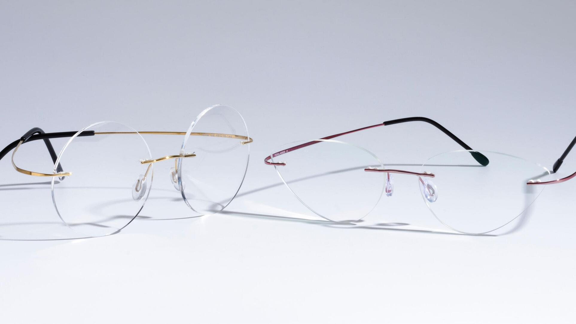 Compare frameless glasses, including round and cat eye.